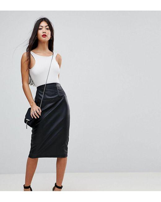 8918447ed010 ASOS - Black Sculpt Me Leather Look High Waist Pencil Skirt - Lyst ...