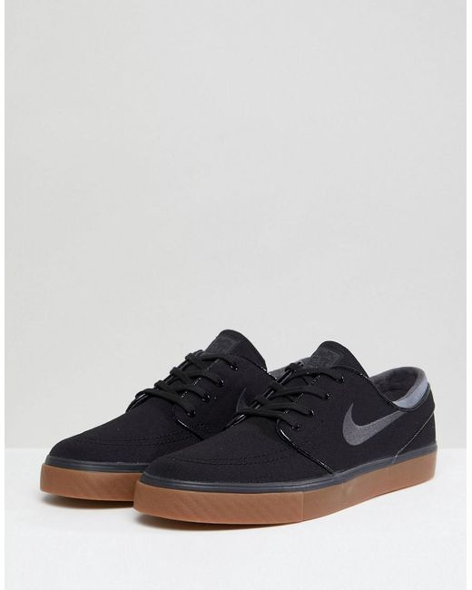 ... Nike - Stefan Janoski Canvas Trainers With Gum Sole In Black 615957-020  for Men ...
