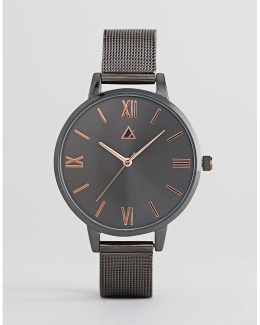 ASOS - Black Gunmetal And Rose Gold Mesh Watch - Lyst