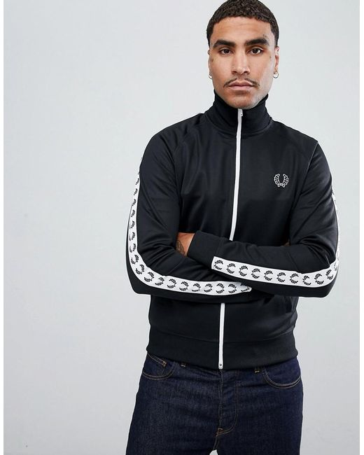 Fred Perry - Sport Graphic Taped Track Jacket In Black for Men - Lyst