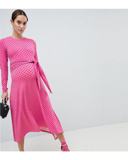 Button Through Midi Dress in Spot - Multi Asos Maternity lC3MF5ez