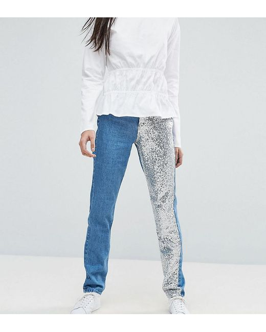 Noisy May Tall | Black Mom Jean With Sequin Panel Detail | Lyst