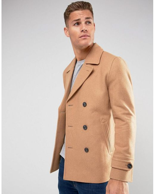Asos Wool Mix Peacoat In Light Camel For Men Lyst