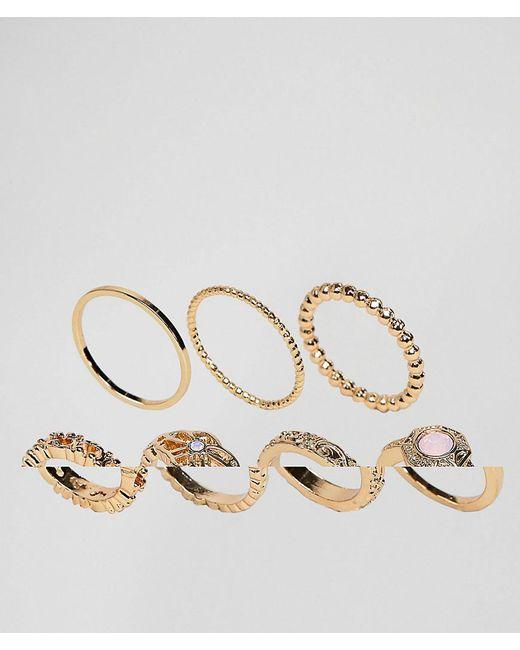 ASOS - Metallic Pack Of 7 Faux Rose Quartz And Filligree Rings - Lyst