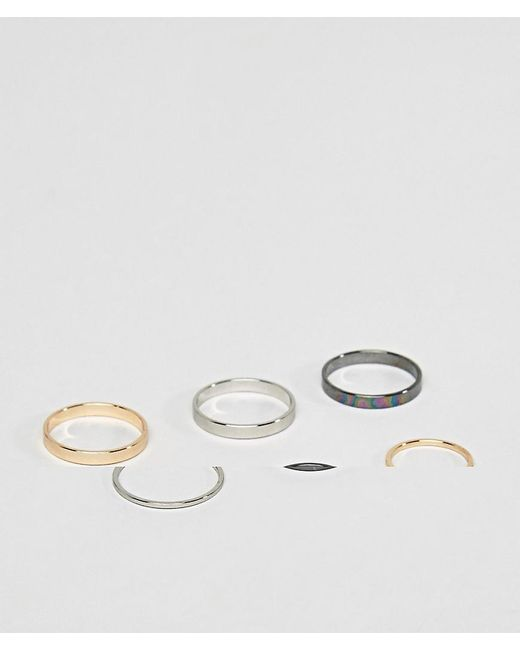 ASOS | Multicolor Midi Ring Pack In Mixed Finish | Lyst