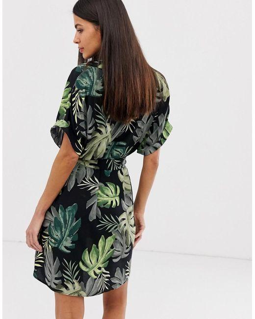 c71ef207fd2c ... River Island - Green Shirt Dress In Tropical Print - Lyst