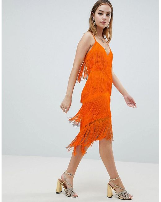 Free Shipping Get Authentic ASOS DESIGN Petite fringe & lace plunge bodycon midi dress - Orange Asos Petite Cheap Very Cheap Discount Manchester Great Sale Finishline BOrLNV