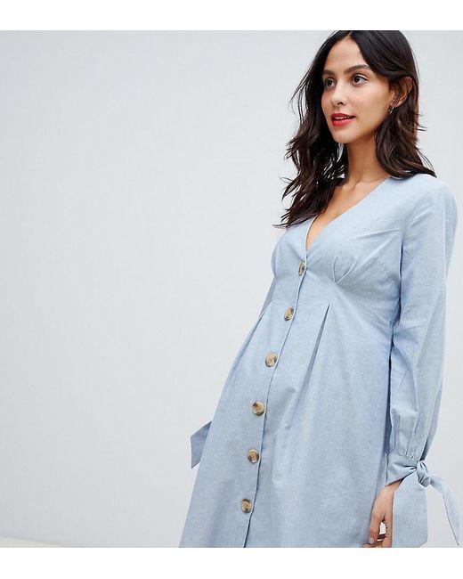 e4fa55bd06 ASOS - Blue Asos Design Maternity Button Through Mini Casual Skater Dress  With Tie Sleeves In ...