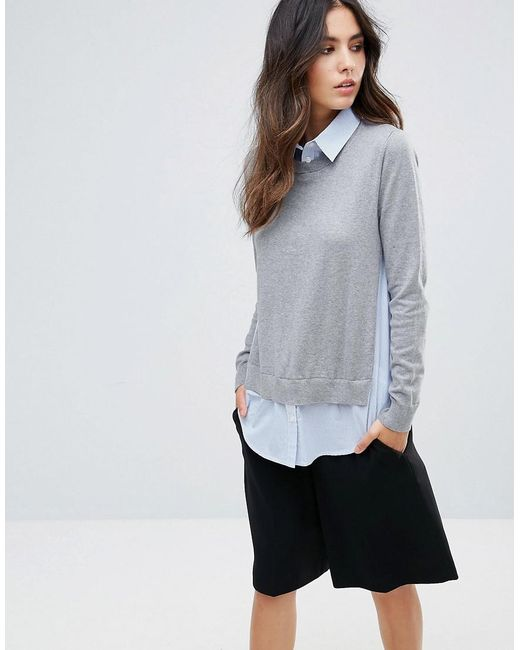 French Connection   Gray Mix It Shirt Sweater   Lyst