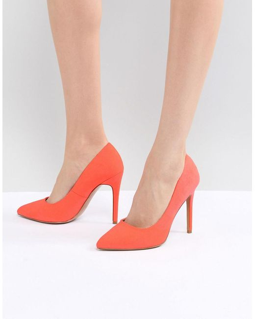 ASOS - Pink Paris Pointed High Heeled Pumps In Coral - Lyst