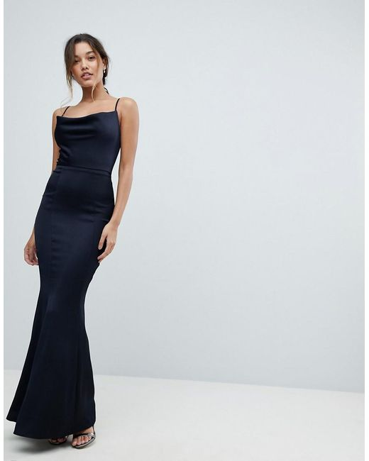 fbe2607071 Lipsy - Blue Cowl Neck Maxi Dress In Navy - Lyst ...