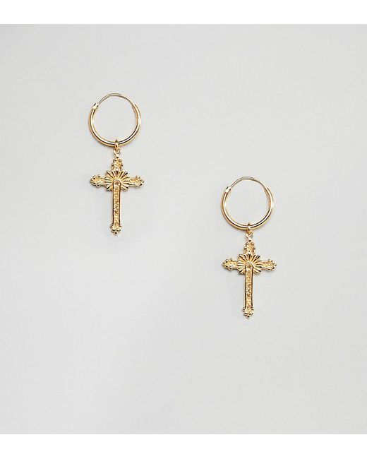 Asos Metallic Hoop Earrings In Gold Plated Sterling Silver With Vintage Style Ornate Cross Charms