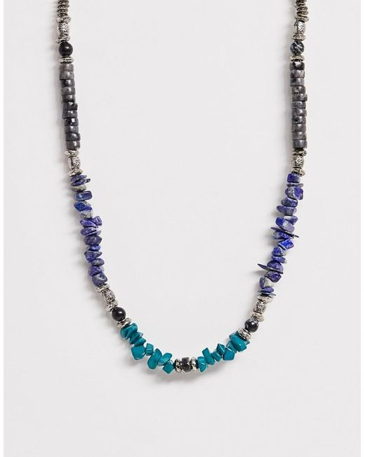 ASOS - Blue Beaded Necklace With Semi Precious Stone Detail for Men - Lyst