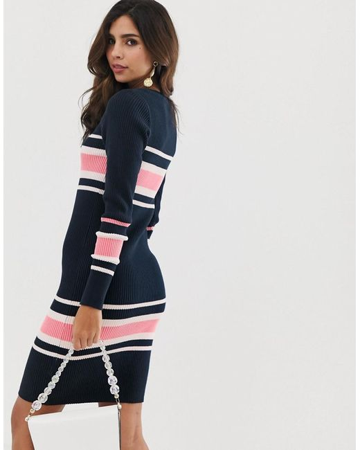 2ac32c9e31 ... Vila - Blue Colourblock Stripe Rib Jumper Dress - Lyst
