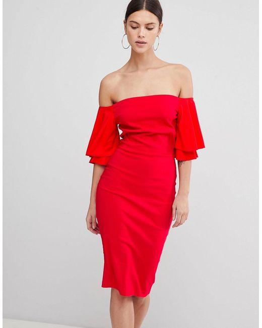 Vesper - Red Short Sleeve Bardot Dress - Lyst