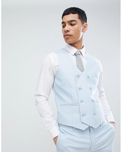 2ddba5088da9 ASOS - Wedding Super Skinny Suit Waistcoat In Ice Blue Micro Texture for Men  - Lyst ...