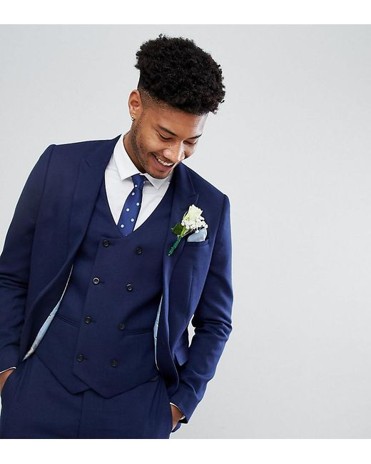 e764b0dd7cd7 ASOS - Blue Asos Tall Wedding Skinny Suit Jacket In French Navy Micro  Texture for Men ...