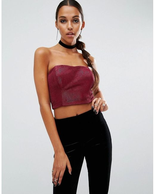 ASOS - Pink Night Bandeau Top With In Metallic - Lyst