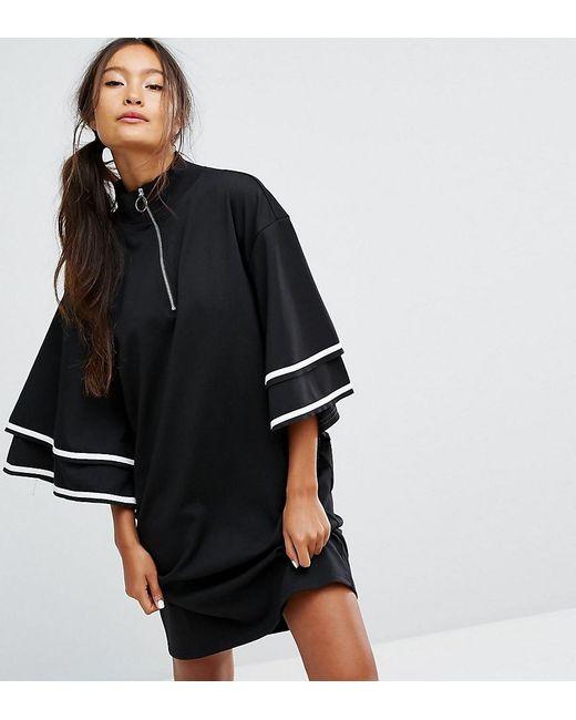 Monki | Black Ruffle Sleeve Zip Up Sporty Dress | Lyst