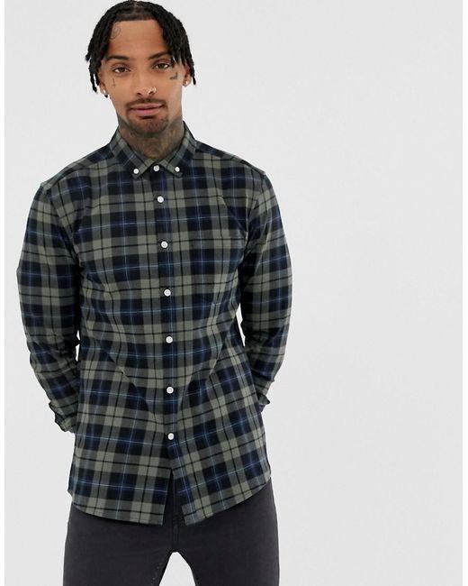 ASOS Green Skinny Check Shirt In Khaki for men