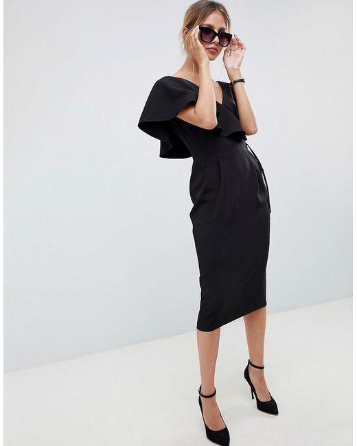 ASOS - Black Ruffle Wrap Midi Dress - Lyst