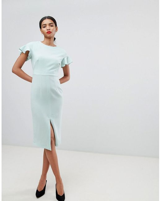ASOS - Green Midi Wiggle Dress With Fluted Sleeve - Lyst