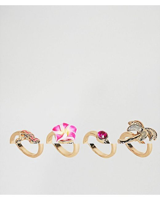 ASOS - Metallic Design Pack Of 4 Palm Trees And Flamingo Rings - Lyst