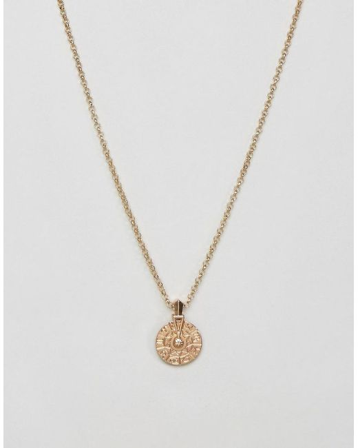 ASOS   Metallic Necklace With Spinning Wheel Charm In Gold for Men   Lyst