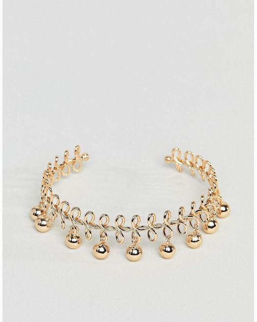 ASOS - Metallic Design Wire Wrapped And Ball Charm Cuff Bracelet - Lyst