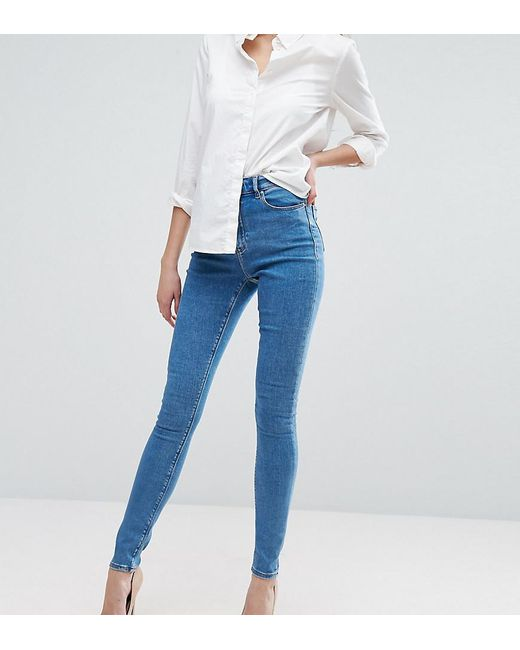 ASOS - Blue Asos Design Tall Ridley High Waist Skinny Jeans In Light Wash - Lyst