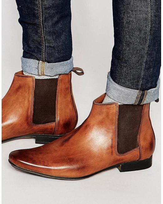 frank wright chelsea boots in leather in brown for