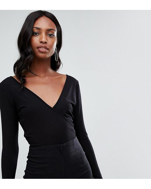 ASOS - Asos Design Tall Body With Deep Wrap Front And Back In Black - Lyst