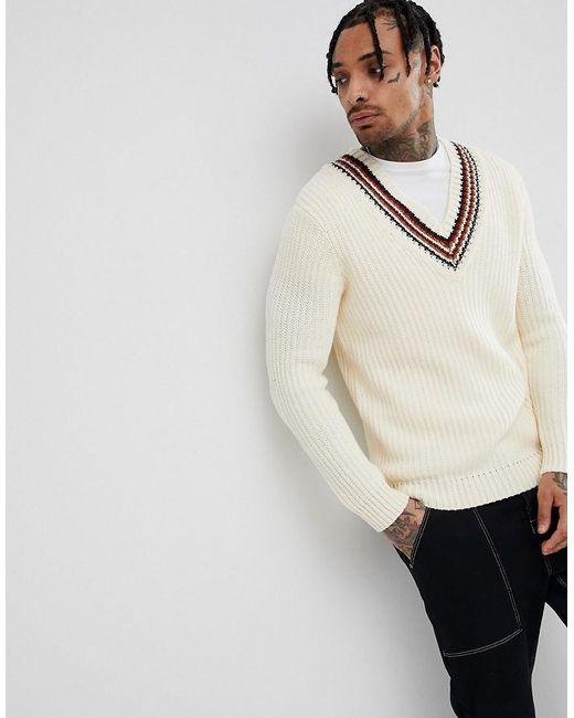 ASOS - Natural Knitted V-neck Jumper With Stripes In Beige for Men - Lyst
