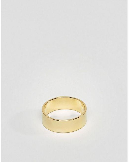 ASOS - Metallic Gold Plain Band Pinky Ring for Men - Lyst