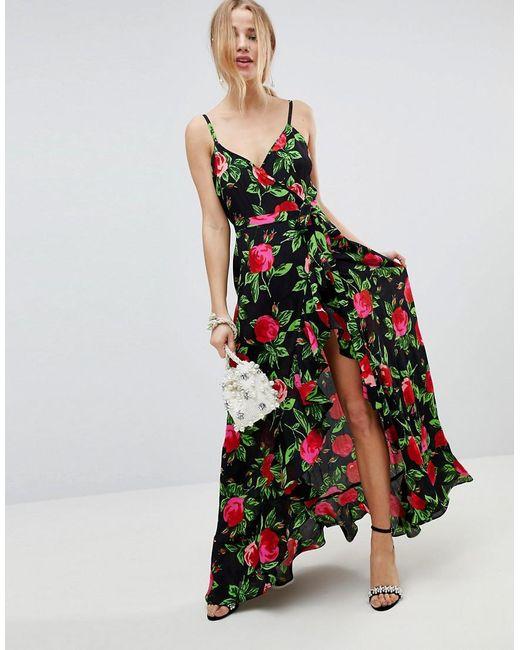 ASOS DESIGN - Multicolor Asos Ruffle Front Wrap Maxi Cami Dress In Bold Floral - Lyst