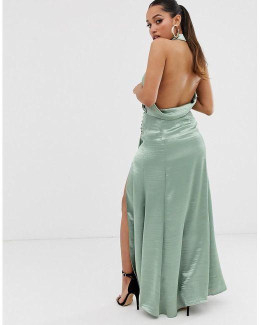 a49bd60bc8 ... ASOS - Green Asos Design Petite Halter Maxi Dress In High Shine Satin  With Drape Neck
