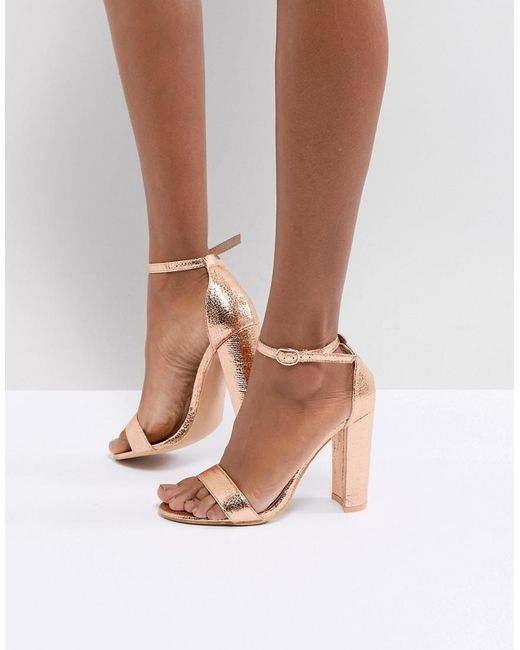 Glamorous - Metallic Rose Gold Barely There Block Heeled Sandals - Lyst