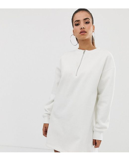 597d2aa8bb8c Missguided - Gray Oversized Sweat Dress In White - Lyst ...