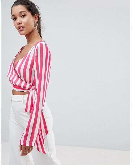 PRETTYLITTLETHING - Pink Striped Wrap Top - Lyst