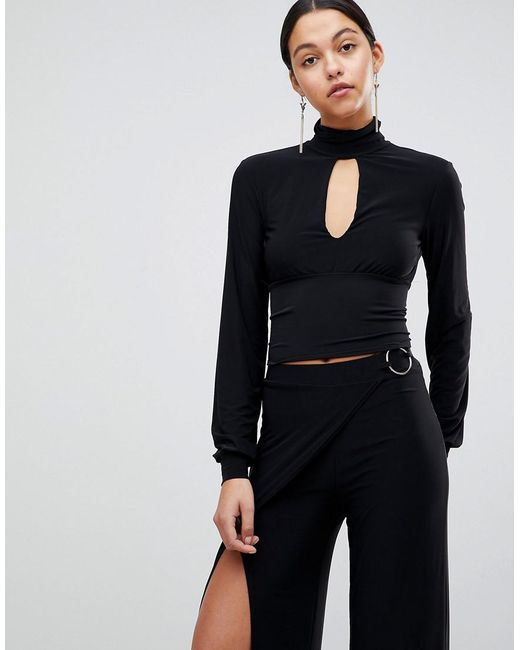 Gathered High Neck Keyhole Front Top - Black Club L Fake Buy Cheap Official Site Free Shipping Professional SsPCVsx
