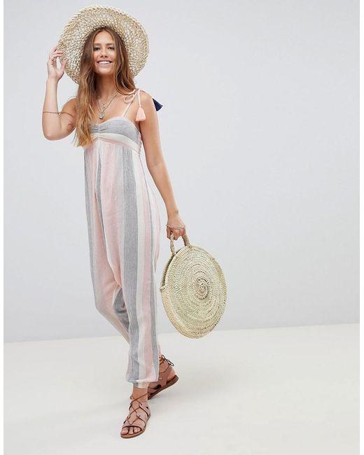 102b8e65224 ASOS - Multicolor Beach Hareem Jumpsuit In Pastel Stripe With Tassel Ties -  Lyst ...