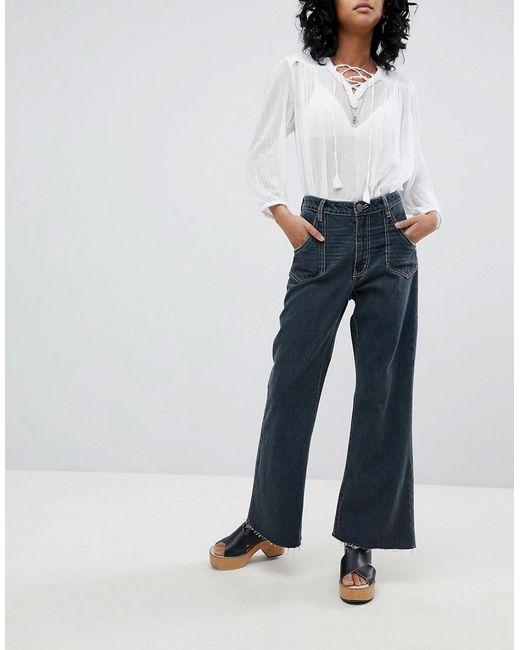 50ae9b36e4 Jean court large taille haute avec coutures contrastantes One Teaspoon en  coloris Black ...