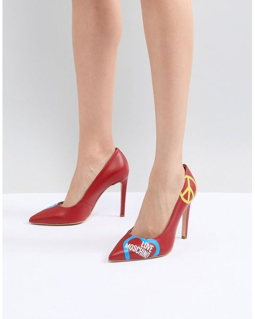 Love Moschino - Red High Heeled Court Shoe - Lyst ...