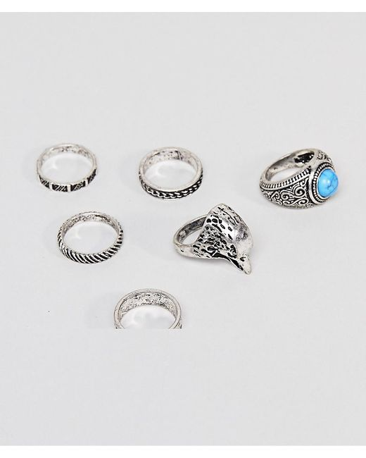 ASOS - Metallic Chunky Ring Pack With Eagle And Stones In Burnished Silver for Men - Lyst