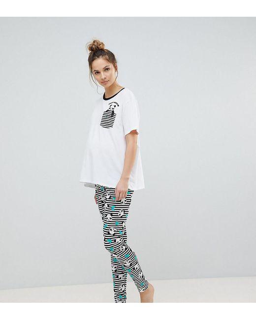 ASOS | Multicolor Panda-monium Legging And Tee Pajama Set | Lyst