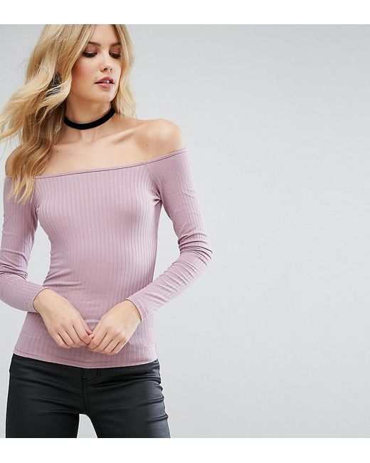 ASOS | Purple Top With Off Shoulder In Rib | Lyst