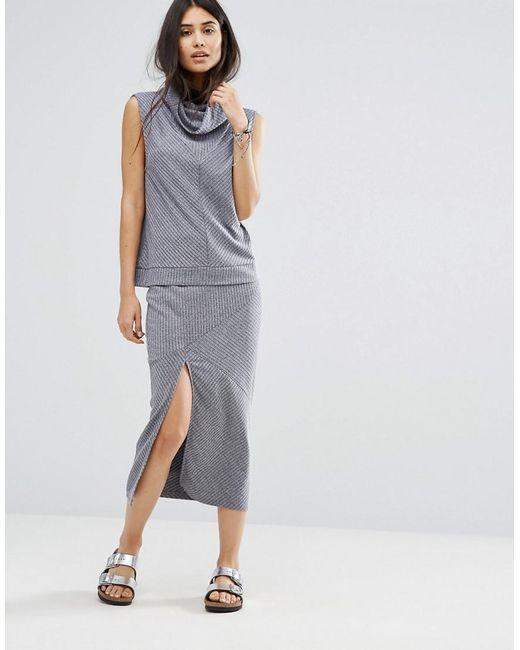 MINKPINK | Blue Move Rib Knit Skirt | Lyst