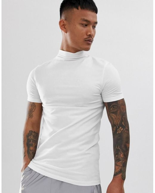 953d3a908e8c ASOS - Muscle Fit Turtle Neck T-shirt With Stretch In White for Men ...