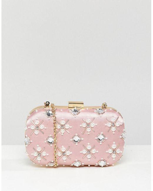 True Decadence - Pink Blush Embellished Pearl Box Clutch Bag - Lyst