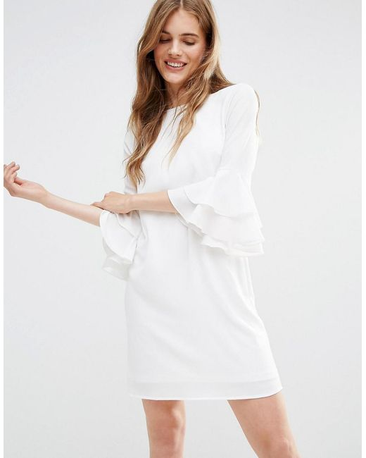 Traffic People   White Mia Molls Dress With Frill Sleeves   Lyst